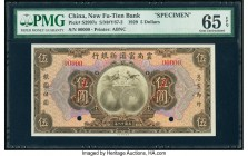 China New Fu-Tien Bank 5 Dollars 1929 Pick S2997s S/M#Y67-2 Specimen PMG Gem Uncirculated 65 EPQ. Two POCs; red Specimen overprints.  HID09801242017  ...