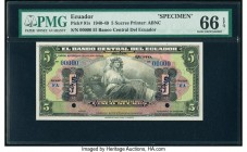Ecuador Banco Central del Ecuador 5 Sucres 1940-49 Pick 91s Specimen PMG Gem Uncirculated 66 EPQ. Two POCs; blue Specimen overprints.  HID09801242017 ...