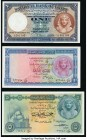 Egypt National Bank of Egypt 1 (2); 5 Pounds 6.12.1943 Pick 22; 30; 31 Three Examples About Uncirculated-Crisp Uncirculated.   HID09801242017  © 2020 ...