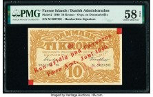 Faeroe Islands Faero Amt 10 Kroner 1940 Pick 2 PMG Choice About Unc 58 EPQ. Handwritten signatures; red overprints on 31c.  HID09801242017  © 2020 Her...