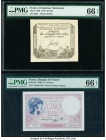 France Domaines Nationaux; Banque de France 50 Sols; 5 Francs 1793; 17.8.1939 Pick A70b; 83 Two Examples PMG Gem Uncirculated 66 EPQ.   HID09801242017...