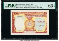 French Indochina Institut d'Emission des Etats, Laos 10 Piastres = 10 Kip ND (1953) Pick 102 PMG Choice Uncirculated 63 EPQ.   HID09801242017  © 2020 ...