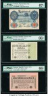 Germany Imperial Bank Note; Republic Treasury Note (2) 20 Mark; 1; 5 Millionen Mark 9.2.1914; 1923; 1923 Pick 46b; 102c; 105 Three Examples PMG Superb...