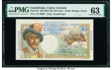 Guadeloupe Caisse Centrale de la France d'Outre-Mer 50 Francs ND (1947-49) Pick 34 PMG Choice Uncirculated 63. Tape repair.  HID09801242017  © 2020 He...
