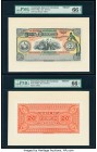 Guatemala Banco de Occidente en Quezaltenango 20 Pesos 18xx Pick S186fp; S186bp Front and Back Proofs PMG Gem Uncirculated 66 EPQ. PMG misattributes P...