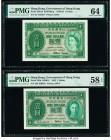 Hong Kong Government of Hong Kong 1 Dollar 1.7.1957; 1.1.1952 Pick 324Ab; 324b KNB19; 15 PMG Choice Uncirculated 64; Choice About Unc 58 EPQ.   HID098...