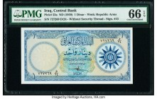 Iraq Central Bank of Iraq 1 Dinar ND (1959) Pick 53a PMG Gem Uncirculated 66 EPQ.   HID09801242017  © 2020 Heritage Auctions | All Rights Reserve