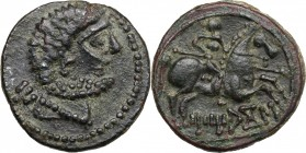 Hispania. Iberia, Titiakos. AE 23 mm. 50 BC. D/ Bare and bearded male head right; behind, Iberian Ti. R/ Horseman galloping right, holding spear; belo...