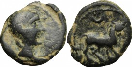Hispania. Iberia, Castulo. AE Half Unit-Semis, early 1st century BC. D/ Diademed male head right; Iberian inscription before. R/ Bull standing right, ...