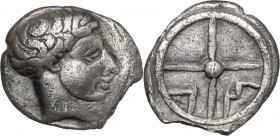 Celtic World. Gaul, Massalia. AR Obol, circa 390/86-218/5 BC. D/ Bare head of Lacydon right. R/ A M within wheel of four spokes. Depeyrot, Marseille 1...