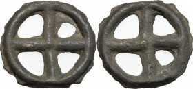 Celtic World. Celts in Eastern Europe. AE Ring proto-money (four spoked wheel shaped) 6th-1st century BC. Castelin, 983-985. AE. g. 2.52 mm. 17.50 R. ...