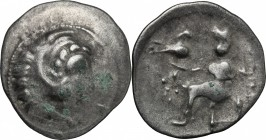 Celtic World. Celts in Eastern Europe. AR Drachm imitating Philip III of Macedon, c. 150-50 BC. D/ Head of Herakles right. R/ Zeus Aetophoros seated l...