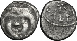 Greek Italy. Etruria, Populonia. AR 20-Asses, 3rd century BC. D/ Facing head of Metus, tongue protruding, hair bound with diadem; below, [X X]. Dotted...