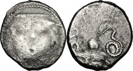 Greek Italy. Etruria, Populonia. AR 20-Asses, 3rd century BC. D/ Facing head of Metus, tongue protruding, hair bound with diadem; below, [X X]. R/ Oct...