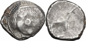 Greek Italy. Etruria, Populonia. AR 20 Asses, 3rd century BC. D/ Facing head of Metus, hair bound with diadem; below, XX. Dotted border. R/ Blank. Vec...