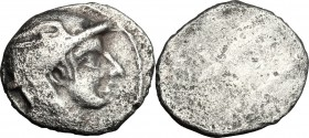 Greek Italy. Etruria, Populonia. AR 5-Asses, 3rd century BC. D/ Head of Turms right, wearing petasus; behind, traces of V. Linear border. R/ Blank. Ve...