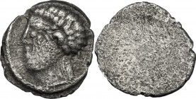 Greek Italy. Etruria, Populonia. AR As (Libella), 3rd century BC. D/ Male head left. Linear border. R/ Blank. Obverse die unpublished in the standard ...