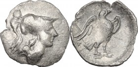 Greek Italy. Central Italy, Alba Fucens. AR Obol, c. 280-275 BC. D/ Head of Minerva right, wearing crested Corinthian helmet. R/ Eagle right on thunde...