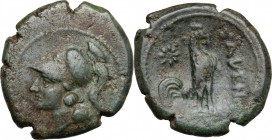 Greek Italy. Samnium, Southern Latium and Northern Campania, Cales. AE 22 mm. c. 265-240 BC. D/ Helmeted head of Athena left. R/ Cock standing right; ...