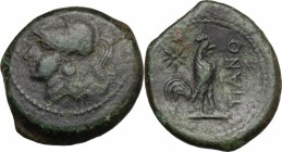 Greek Italy. Samnium, Southern Latium and Northern Campania, Teanum Sidicinum. AE 20 mm. c. 265-240 BC. D/ Head of Athena left. R/ Cock right; above t...