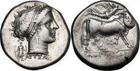 Greek Italy. Central and Southern Campania, Neapolis. AR Didrachm, circa 300 BC. Artemi(os), moneyer. D/ Head of nymph right; behind neck, statue of A...
