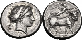 Greek Italy. Central and Southern Campania, Neapolis. AR Didrachm, c. 300-275 BC. D/ Head of nymph right, hair in band; kantharos behind neck, XA[PI] ...