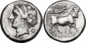Greek Italy. Central and Southern Campania, Neapolis. AR Didrachm, circa 275-250 BC. D/ Diademed head of nymph left; behind, herm. R/ Man-headed bull ...