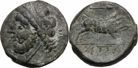 Greek Italy. Northern Apulia, Arpi. AE 20 mm. c. 325-275 BC. D/ Laureate head of Zeus left; behind, thunerbolt. R/ Wild boar right; above, spearhead r...