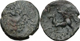 Greek Italy. Northern Apulia, Arpi. AE 17 mm. c. 325-275 BC. D/ Laureate head of Zeus left. R/ Horse prancing left; above, star; between legs, monogra...