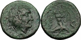 Greek Italy. Southern Apulia, Brundisium. AE Semis, 2nd century BC. D/ Laureate head of Poseidon right; below, mark of value. R/ Youth on dolphin righ...