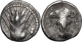 Greek Italy. Southern Lucania, Metapontum. AR Obol, c. 440-430 BC. D/ Ear of barley of four grains. R/ Facing head of ox. Noe 346.2; HN Italy 1500. AR...
