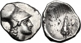 Greek Italy. Southern Lucania, Metapontum. AR Diobol, circa 325-275 BC. D/ Helmeted head of Athena right. R/ META. Grain ear with leaf to right; [corn...