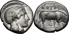 Greek Italy. Southern Lucania, Thurium. AR Stater, c. 443-400 BC. D/ Head of Athena right, wearing Attic helmet decorated with olive-branch; [Φ] above...
