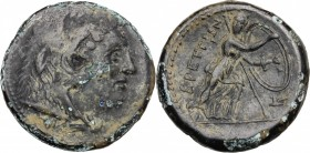 Greek Italy. Bruttium, Brettii. AE Double Unit-Didrachm, c. 211-208 BC. D/ Head of Herakles right, wearing lion skin; club below. R/ BPETTIΩN. Athena ...