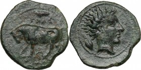 Sicily. Gela. AE Tetras or Trionkion, c. 420-405 BC. D/ Bull standing left; olive leaf above; three pellets (mark of value) in exergue. R/ Horned head...