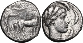 Sicily. Syracuse. Second Democracy (466-405 BC). AR Tetradrachm, 430-420 BC. D/ Charioteer driving slow quadriga right, holding kentron and reins; abo...