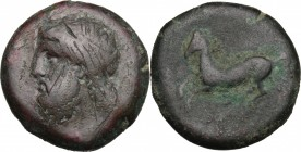 Sicily. Syracuse. Timoleon and the Third Democracy (344-317 BC). AE Dilitron, c. 339-334 BC. D/ [ZEYΣ EΛYΘEPIOΣ]. Laureate head of Zeus Eleutherios le...