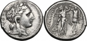 Sicily. Syracuse. Agathokles (317-289 BC). AR Tetradrachm, c. 310-306 BC. D/ Head of Kore right, wearing wreath of grain ears; KOPAΣ to left. R/ Nike ...