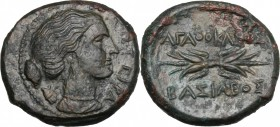 Sicily. Syracuse. Agathokles (317-289 BC). AE 23.5 mm. D/ ΣΩTEIPA. Head of Artemis right, holding quiver over the shoulder. R/ AΓAΘOKΛEOΣ BAΣIΛEOΣ. Wi...