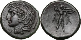 Sicily. Syracuse. Pyrrhos (278-276 BC). AE 23.5 mm. D/ ΣYPAKOΣIΩN. Head of Herakles left, wearing lion skin; club behind. R/ Athena Promachos advancin...