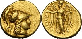 "Continental Greece. Kings of Macedon. Alexander III ""the Great"" (336-323 BC). AV Stater, Sidon mint, 333-305 BC. D/ Head of Athena right, wearing cres..."