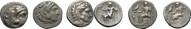 "Continental Greece. Kings of Macedon. Alexander III ""the Great"" (336-323 BC). Multiple lot of three (3) unclassified AR Drachms, mostly posthumous. AR..."