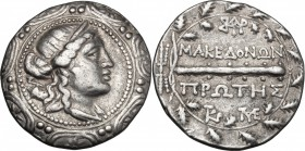 Continental Greece. Macedon. Under roman rule. AR Tetradrachm, after 168 BC. D/ Diademed head of Artemis right with quiver over shoulder in the center...
