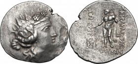 Continental Greece. Islands off Thrace, Thasos. AR Tetradrachm, circa 90-75 BC. D/ Wreathed head of young Dionysos right. R/ Herakles standing left, h...
