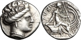 Continental Greece. Euboia, Histiaia. AR Tetrobol, c. 196-142 BC. D/ Wreathed head of nymph Histiaia right. R/ ΙΣTI-AIEΩN. Nymph Histiaia astride wing...