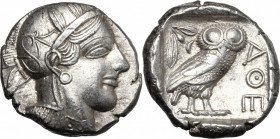 Continental Greece. Attica, Athens. AR Tetradrachm, 479-393 BC. D/ Head of Athena right, helmeted, with frontal eye. R/ Owl standing right, head facin...
