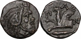 Continental Greece. Cimmerian Bosporos, Pantikapaion. AE 20 mm., c. 310-304 BC. D/ Head of Pan right. R/ Π-A-N. Forepart of griffin left; below, sturg...