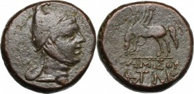 Greek Asia. Pontos, Amisos. Time of Mithradates VI Eupator (c. 85-65 BC). AE 22.5 mm. D/ Helmeted head of Mithradates VI as the hero Perseus right. R/...