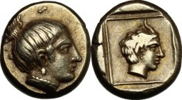 Greek Asia. Lesbos, Mytilene. EL Hekte, c. 412-378 BC. D/ Head of nymph right. R/ Horned head of Pan right within linear square; all within incuse squ...