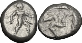 Greek Asia. Pamphylia, Aspendos. AR Stater, 465-430 BC. D/ Warrior advancing right, holding shield and spear. R/ Ε-Σ-[Τ-F]. Triskeles. SNG Cop. 159; S...